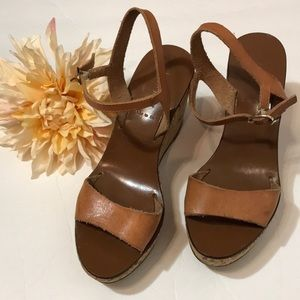 J Crew tan leather ankle strap wedge sandals